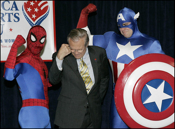 Ex-SECDEF Rumsfeld, Spiderman and Captain America