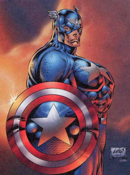 Captain America sporting knockers