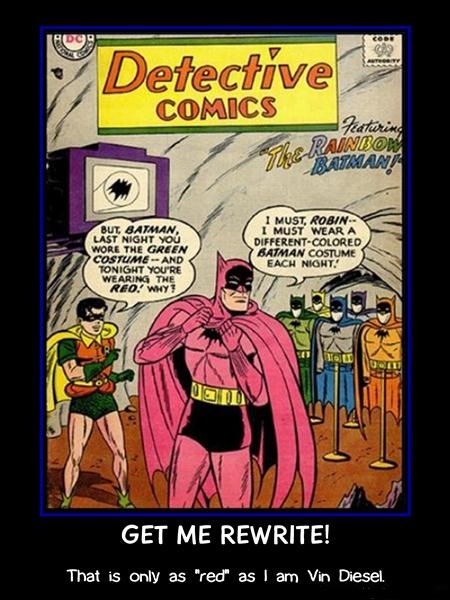 Batman Demotivational Poster: Pink Batsuit
